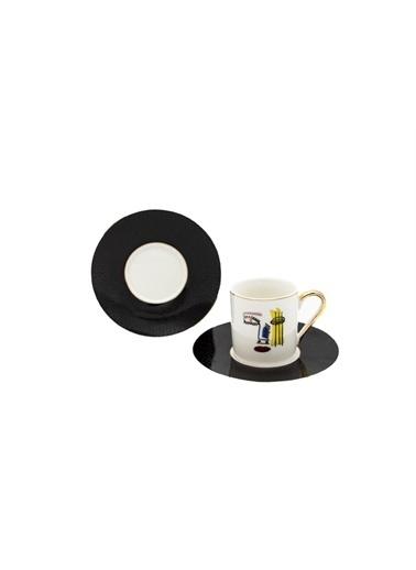 Sembol Çizgi Figürlü 6 Lı Kahve Takımı Renkli